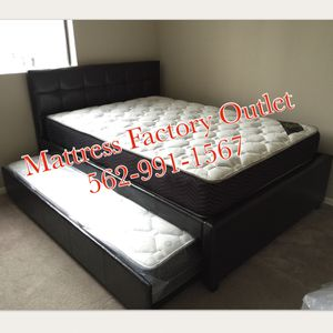 Espresso leatherette twin/twin trundle bed frame with mattresses included for Sale in La Mirada, CA