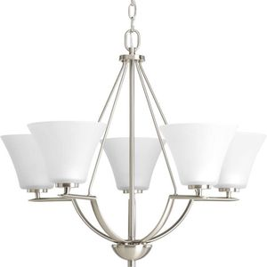 5 Light Brushed Nickel Chandelier with Etched Glass Shade - sealed box/never opened - Progress Lighting for Sale in Plymouth, MI