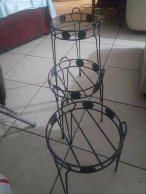 Three piece wrought iron plant stand set for Sale in Fresno, CA