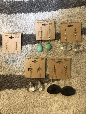 Handmade earrings. Real stones and gold fixings/golf filled chain for Sale in Portland, OR