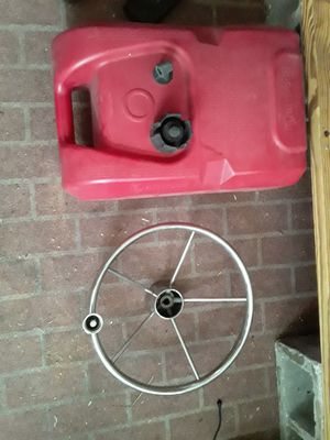 6 gallon gas can and steering wheel. for Sale in Ruskin, FL
