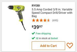 Ryobi drill. Corded. 3/8 chuck for Sale in Woodinville, WA