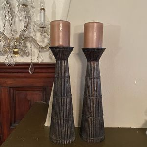 Two Tall Candle Holders With Candles For Sale for Sale in Los Angeles, CA
