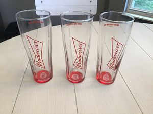 "Three Like New Budweiser 7"" Beer Glasses for Sale in Goodlettsville, TN"