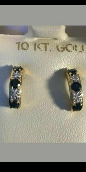 10K YELLOW GOLD - SAPPHIRE & DIAMOND - EARRINGS - NEW - USA for Sale in Brooklyn, NY