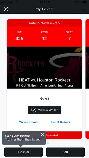 Miami heat Vs Houston Rockets 1 ticket Section 325 Row 12 Center Court (great view) for Sale in Miami, FL