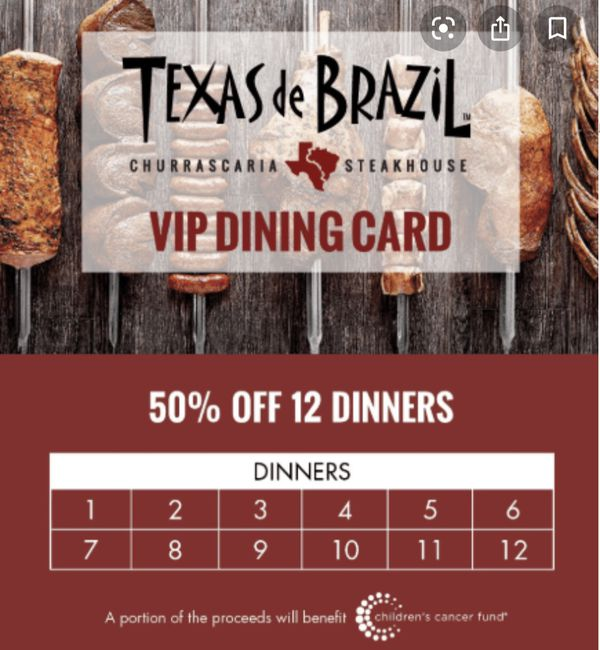 Texas de Brazil churrascaria steakhouse VIP card $300 value