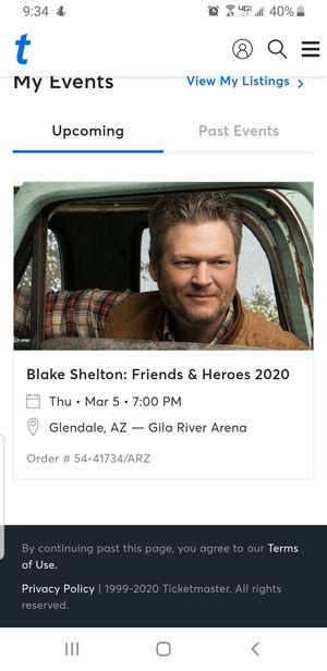 Blake Shelton Tickets - 2 for Sale in Peoria, AZ