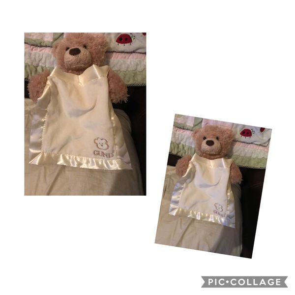 EUC Adorable GUND Peek-a-Boo Teddy Bear w/so soft Blanket to play Peek-a-Boo- says phrase Soft plush Walgreens Oakland Canada rd wolfchase Kirby whi