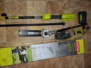 RYOBI EXPAND-IT POLE SAW ATTACHMENT & 40V POLE & BATTERY & CHARGER for Sale in Beaumont, CA