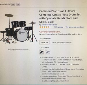Full size adult 5-piece drum set with cymbals and stands for Sale in Virginia Beach, VA