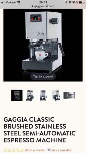 GAGGIA CLASSIC BRUSHED STAINLESS STEEL SEMI-AUTOMATIC ESPRESSO MACHINE for Sale in Arlington, VA