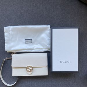 Dollar Calfskin Interlocking Gucci Chain Wallet White Bag (Dual Clutch Use) Authentic Retail: $1,199.00 Asking: $800.00 All offers entertained! Fee for Sale in Los Angeles, CA