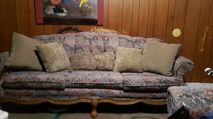 Anti couch and loveseat with claw feet for Sale in Salina, KS