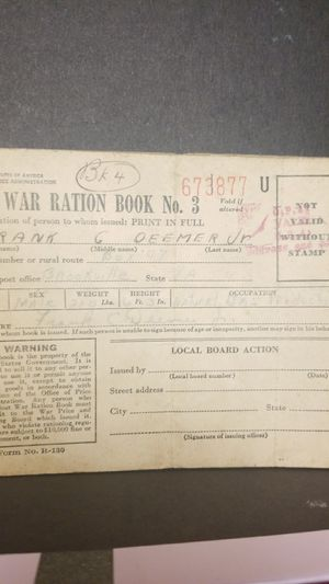 World war Ration book no 3 for Sale in Springfield, VA