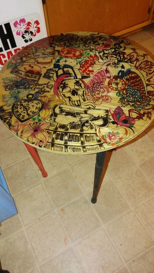 End table customed drawn and epoxy covered for Sale in Pittsboro, NC