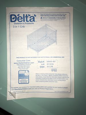 Delta 3 in 1 crib for Sale in Westland, MI