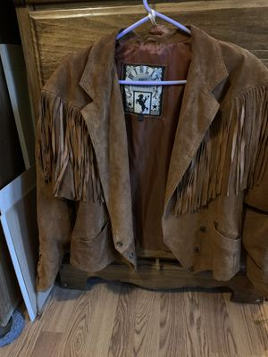 Brown leather Fringe jacket for Sale in Hesperia, CA