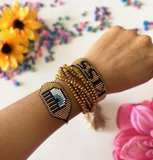 Bracelets set MIYUKI for woman Evil Eye Charm protection jewelry Black- Pulceras De mujer Miyuki for Sale in Miami, FL
