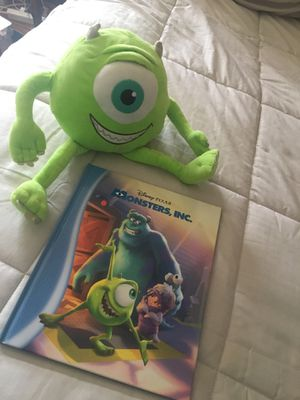 Disney Pixar Monsters Inc. Book and Big Plushie Excellent Condition for Sale in East Providence, RI