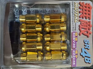 Muteki 12x1.25 Yellow Chrome Gold Tuner Lugs Lug Kit Lug nuts for Rims Wheels for Sale in Chicago, IL