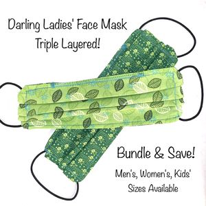 Green Ladies' Triple Layer Cotton Face Mask w/ Filter Pocket for Sale in Charlottesville, VA