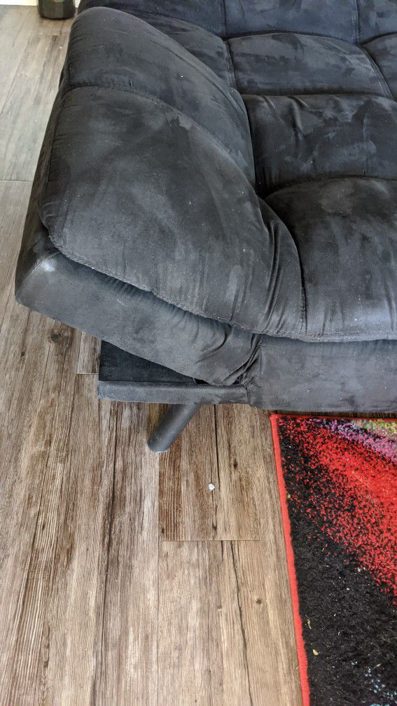 Super comfortable black suede leather futon or bed