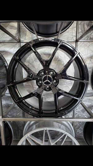 Gloss black amg style staggered wheels fits e class s class 5x112 19x8.5 +30 and 19x9.5 +35 for Sale in Tempe, AZ