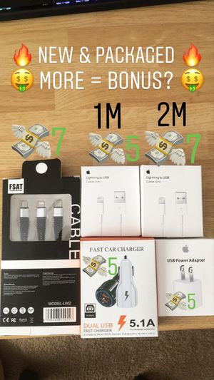 (NEW) 1M 2M Lightning Charger Cable 3 in 1 (Micro, USBC, Lightning) Wall Car Adapter USB Apple Family Holiday Gift Stuffing Mom Dad Grandma Grandpa for Sale in San Gabriel, CA