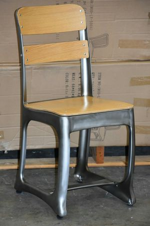 Rare Vintage Mid-Century Dining Side Chair, Office, Desk, Study Chair. Gunmetal Frame with Wood Seat AND Back Natural for Sale in South El Monte, CA