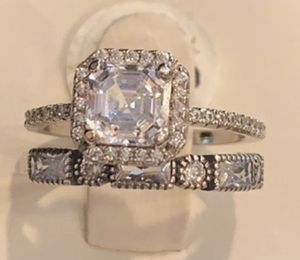 2Pc 1ct Lab Diamond Asscher cut Engagement Ring 6 for Sale in Los Angeles, CA