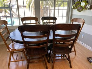 Solid oak dining table with 6 chairs for Sale in Mesa, AZ