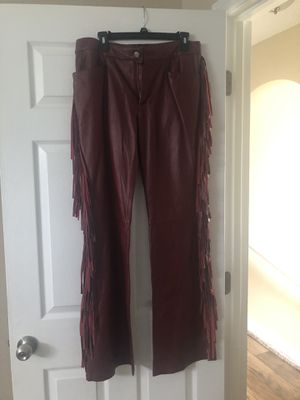 Leather red fringe pants size 12 never worn for Sale in Kissimmee, FL