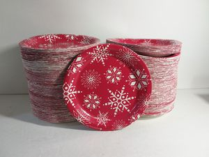 """900 Red Christmas Snowflake 7"""" Round Dessert Plates 4 Parties & Events for Sale in Jacksonville, FL"""