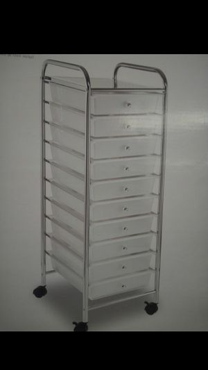 Brand New plastic 10 clear drawer rolling art supply storage office cart for Sale in Costa Mesa, CA