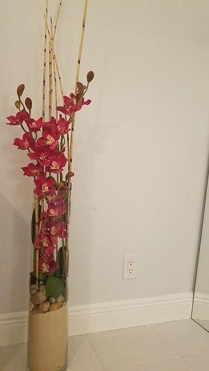 orchid silk flower glass vase for Sale in Hillsboro Beach, FL