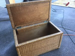 """Cost Plus World Market rattan trunk ottoman with bronze hardware 37"""" W x 21"""" H x 20"""" D for Sale in Lake Oswego, OR"""