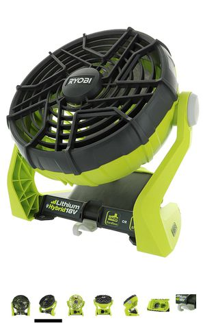 RYOBI RECHARGEABLE FAN with lithium battery and charger. Perfect condition. Barely used! for Sale in Houston, TX