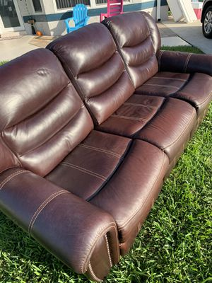 Leather Reclining Sofa - Electrical for Sale in Boca Raton, FL