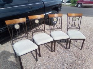 Metal and wood chairs with marble centers for Sale in Phoenix, AZ