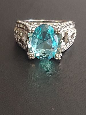 Brand new womens stamped 925 sterling silver huge oval genuine blue aquamarine & white topaz engagement ring or statement ring many sizes available for Sale in New Port Richey, FL