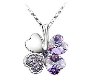 Austrian Crystal Clover GL Charm Chain Floating Heart Pendant 4 Leaf Leaves Necklace for Sale in Lakewood, CO