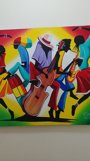 Colorful oil on canvas painting from Jamaica. Signed by the artist. for Sale in Miami, FL