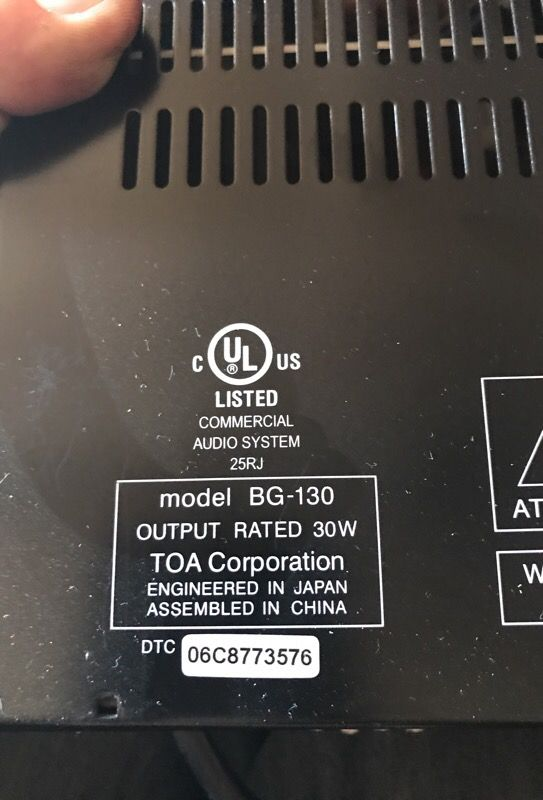 Two amplifiers for home or business sound system. BG-130 wtt