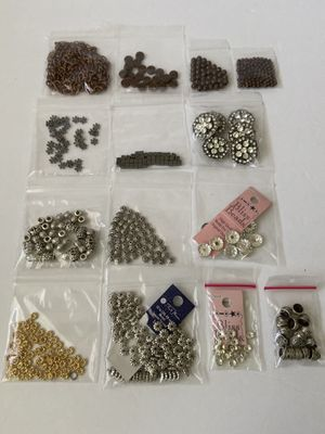 Lot of Jewelry Making Metal Beads Spacers Cups Chain Silver Copper Gold for Sale in University Place, WA