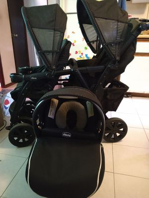 Chicco Double Stroller + car seat + base for Sale in Honolulu, HI