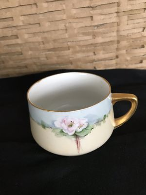 Hand Painted Bone China Teacup. Weimar, Germany , signed MS Cord , Apple Blossoms for Sale in Las Vegas, NV