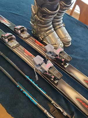 Set of skis, poles, boots and cases. for Sale in Everett, WA