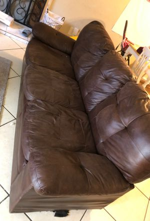 2 brown leather couches for Sale in Lake Elsinore, CA