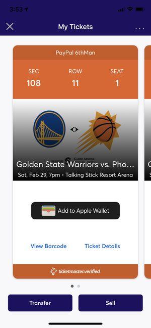 Phoenix Suns vs Golden State Warriors tickets for Sale in Buckeye, AZ